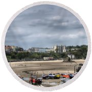 Simply North Beach From Tenby Harbour Round Beach Towel