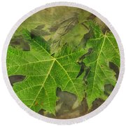 Simply Summer Maple Leaves Round Beach Towel