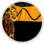 Sine Wave Machine Landscape 2 Round Beach Towel