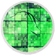 Sinful Geometric Green Round Beach Towel