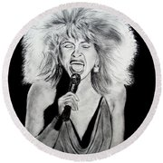 Singer And Actress Tina Turner  Round Beach Towel