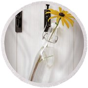 Single Rudbeckia Flower Round Beach Towel by Amanda Elwell