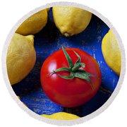 Single Tomato With Lemons Round Beach Towel