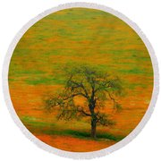 Single Tree Round Beach Towel