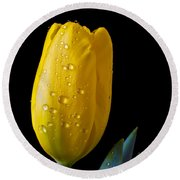 Single Yellow Tulip Round Beach Towel