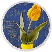 Single Yellow Tulip In Yellow Vase Round Beach Towel
