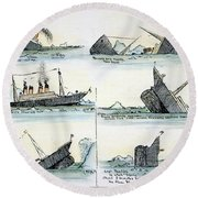 Sinking Of The Titanic Round Beach Towel