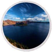 Sinott Crater Lake View Round Beach Towel