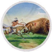 Sioux Hunting Buffalo On Decorated Pony Round Beach Towel