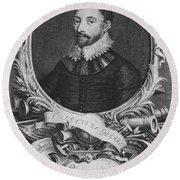 Sir Francis Drake, English Explorer Round Beach Towel by Photo Researchers, Inc.