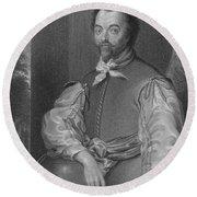 Sir Francis Drake, English Explorer Round Beach Towel by Photo Researchers