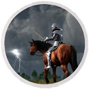 Sir Lightning Rod Round Beach Towel