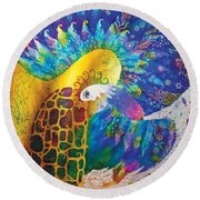 Sirin The Bird Round Beach Towel