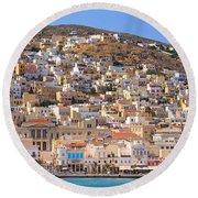 Siros Greece 2  Round Beach Towel