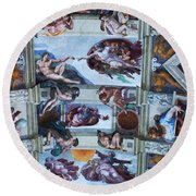 Sistine Chapel Ceiling Round Beach Towel