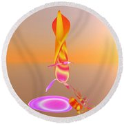 Sitting By The Fire Round Beach Towel
