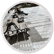 Sitting In The Park - Madrid Round Beach Towel