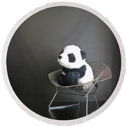 Sitting Meditation. Floyd From Travelling Pandas Series. Round Beach Towel