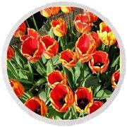 Skagit Valley Tulips 10 Round Beach Towel