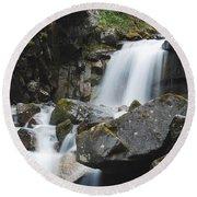 Skagway Waterfall 8619 Round Beach Towel