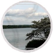 Skaneateles Lake In Ny Finger Lakes Water Color Effect Round Beach Towel