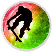 Skateboarder In A Psychedelic Cyclone Round Beach Towel
