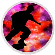 Skateboarder In Cosmic Clouds Round Beach Towel