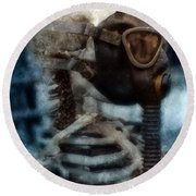 Skeleton In Gas Mask Round Beach Towel