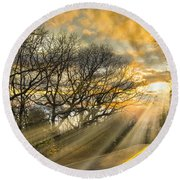 Skeletons At Sunset Round Beach Towel