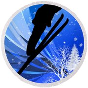 Ski Jumping In The Snow Round Beach Towel