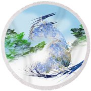 Ski Sledding Blue Polar Bear Round Beach Towel