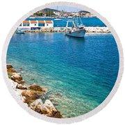 Skiathos Harbour Round Beach Towel
