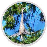 Puget Sound Great Blue Heron Skirt Wings Round Beach Towel