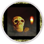 Skull And Candle Round Beach Towel
