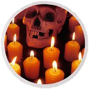 Skull And Candles Round Beach Towel