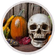 Skull And Gourds Round Beach Towel