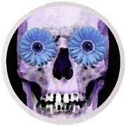 Skull Art - Day Of The Dead 3 Round Beach Towel