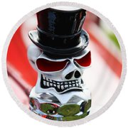 Skull With Top Hat Hood Ornament Round Beach Towel