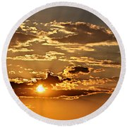 Sky Ablaze 1 Round Beach Towel by Marty Koch