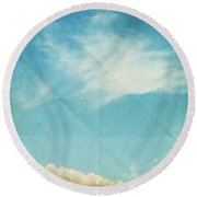 Sky And Cloud On Old Grunge Paper Round Beach Towel by Setsiri Silapasuwanchai
