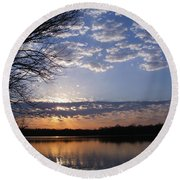 Sky At Dusk Round Beach Towel