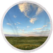 Sky At Sunset, Grasslands National Round Beach Towel