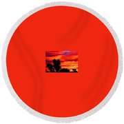 Morro Bay California Sky Fire Round Beach Towel
