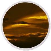 Sky Of Golden Fleece Round Beach Towel