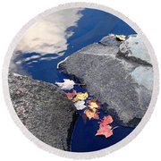 Sky Reflection Leaves And Rocks Round Beach Towel