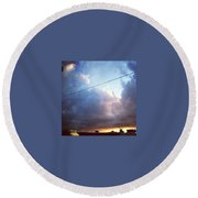 Sky Right Now Round Beach Towel by Katie Cupcakes