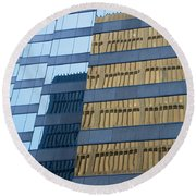 Sky Scraper Tall Building Abstract With Windows And Reflections No.0102 Round Beach Towel