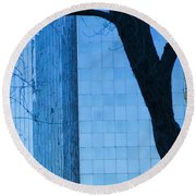 Sky Scraper Tall Building Abstract With Windows Tree And Reflections No.0066 Round Beach Towel