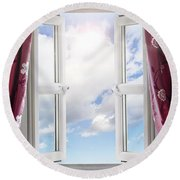 Sky View Through Open Window Round Beach Towel
