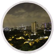 Skyline Of A Part Of Singapore At Night Round Beach Towel